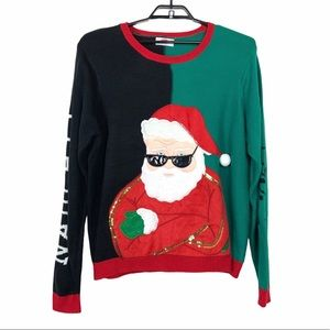 Holiday Time Santa Claus Ugly Christmas Sweater XL